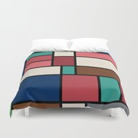 hayao miyazaki Duvet Covers featuring The Colors of / Mondrian Series - Spirited Away - Miyazaki by hyos