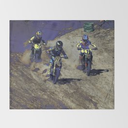 The Home Stretch - Motocross Racers Throw Blanket