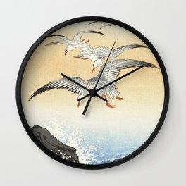 Vintage Japanese print of five seagulls  Wall Clock