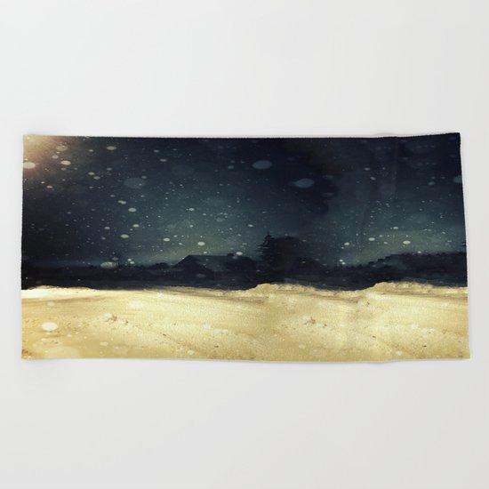 A Winter Night's Walk Beach Towel