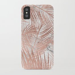 Tropical modern faux rose gold palm tree leaf white marble pattern iPhone Case