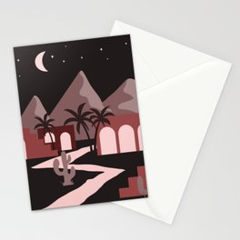 Red Houses Village In The Desert Stationery Cards