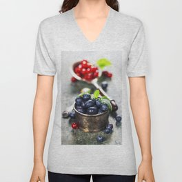 blueberries and red currant berries Unisex V-Neck