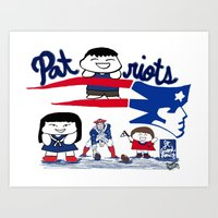 patriots Art Prints featuring Team Patriots!  by Happy Positivity