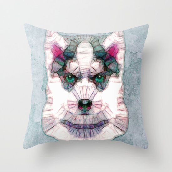 abstract husky puppy Throw Pillow