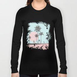 Beachfront palm tree soft pastel sunset graphic Long Sleeve T-shirt