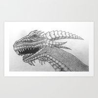 Dragon Head Pencil Drawing Black and White Art Print