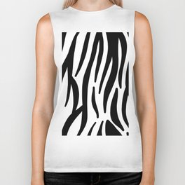 abstract modern safari animal black and white zebra print Biker Tank