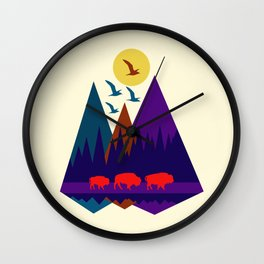 Three Bison Wall Clock