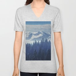 Trees in the fog and clouds in Carpathians Ukraine Europe Unisex V-Neck
