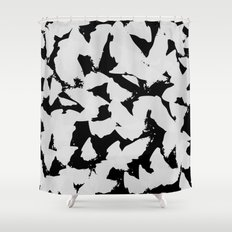 Black Bird Wings on Grey Shower Curtain