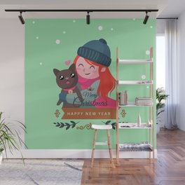 Happy Girl Hugging Her Cat. Wall Mural