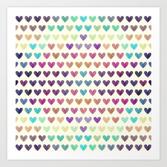 Colorful hearts III Art Print