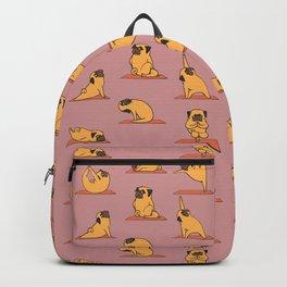 Pug Yoga In Pink Backpack