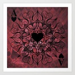 Ace of Hearts Mandala Art Print