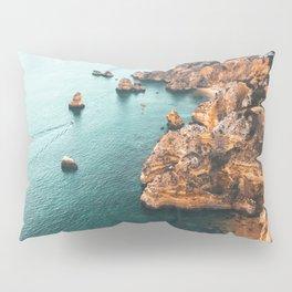 Ocean Landscape Print, Aerial Ocean View, Aerial Sea, Lagos Bay Coast, Algarve Portugal, Drone Photography, Landscape Aerial, Nature Seascape View Pillow Sham
