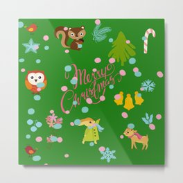 Marry christmas pattern green Metal Print
