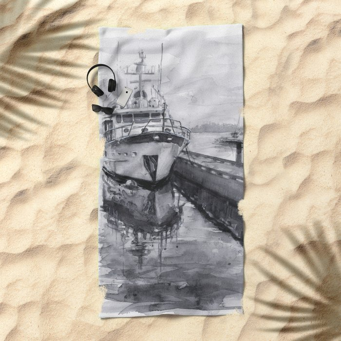 Kirkland Marina Waterfront Boat Watercolor Seattle Beach Towel