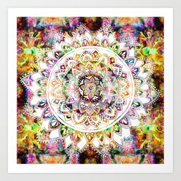 Psychedelic Mantis Mandala Art Print