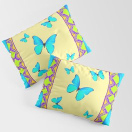 Decorative Cream & Turquoise Butterfly Art Pillow Sham