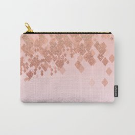 Light Salmon Pink Gradient Faux Glitter Diamonds Carry-All Pouch