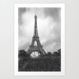 Romantic Paris and Eiffel Tower black white sketch Art Print