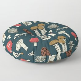 Mushroom Medley in Dark Teal Floor Pillow