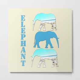 Elephant group beach scene Metal Print