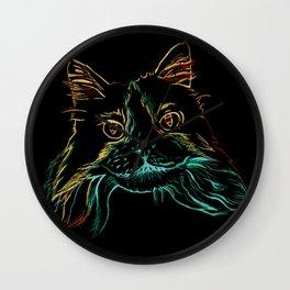 Fluffy Tuxedo Kitty Wall Clock