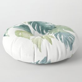 Minimalist watercolor tropical monstera leaves in blushpink and emerald Floor Pillow