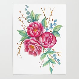 Watercolor flower composition with peonies and branches Poster