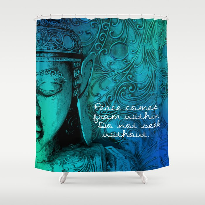 Aqua Buddha Shower Curtain