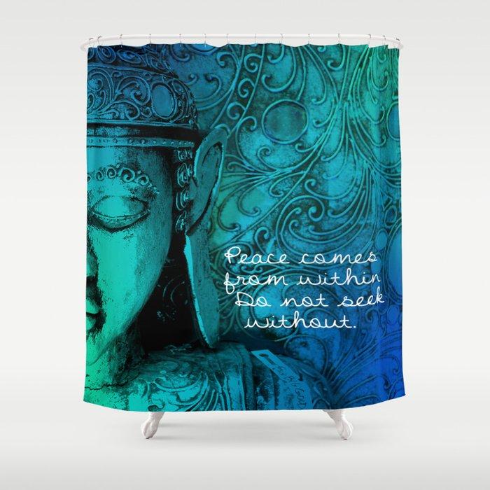 Aqua Buddha Shower Curtain