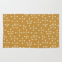 eames Area & Throw Rugs featuring Eames Era Dots 26 by Makanahele
