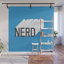 Retro Nerd Blue Wall Mural