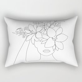Minimal Line Art Woman with Flowers VI Rectangular Pillow