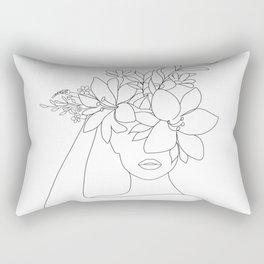 Minimal Line Art Woman with Flowers VI Rectangular Pillow