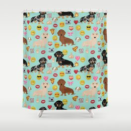 Dachshund emoji dog breed funny emojis pet pure breeds Shower Curtain