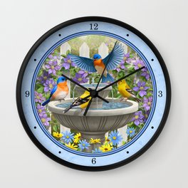 Bird Fountain Flower Garden Gathering Wall Clock