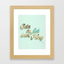 Calm the F*ck Down, Honey – Powder Blue & Gold Palette Framed Art Print