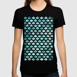 Blue Watercolour Mermaid Fish Scale Print T-shirt