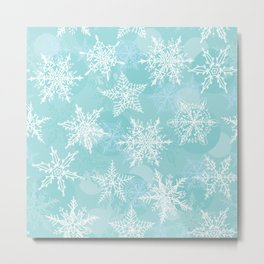 blue winter background with white snowflakes Metal Print