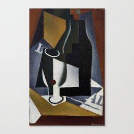 "Juan Gris ""Bouteille, verre et journal (Bottle, glass and journal)"" Canvas Print"