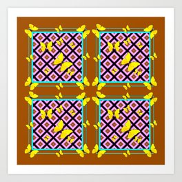 Western Style Purple Patterns & Yellow Butterflies Coffee Brown Art Print