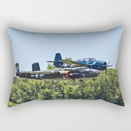B-24 and Hellcat World War II Aircraft Fly Together at Mosby Missouri Rectangular Pillow