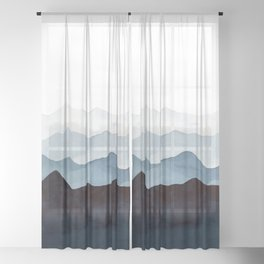 Indigo Mountains Landscape Sheer Curtain