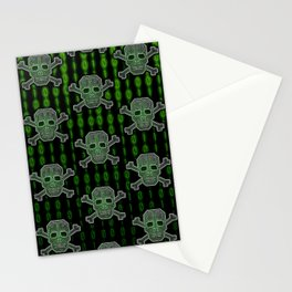 Hacker Skull Crossbones (pattern version) Stationery Cards