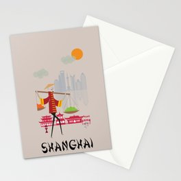 Shanghai - In the City - Retro Travel Poster Design Stationery Cards
