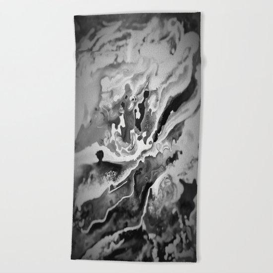 Deep Sea Black Focus Marble Beach Towel