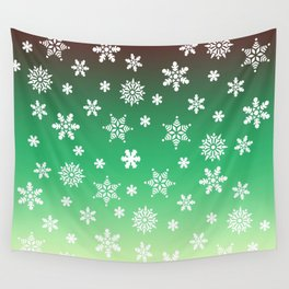 Snow Flurries-Green/Cream Ombre Wall Tapestry